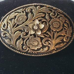 Floral Black and Gold Belt Buckle